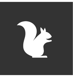 Squirrel sits logo in monochrome vector