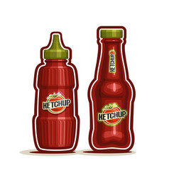 tomato ketchup bottles vector image