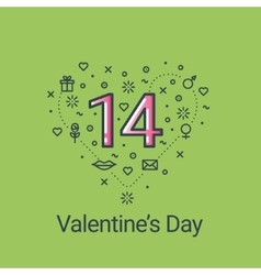 Valentines day green heart and 14 date vector