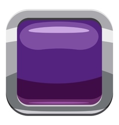 Violet square button icon cartoon style vector