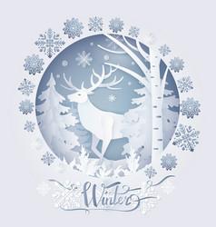 winter deer in forest poster vector image vector image