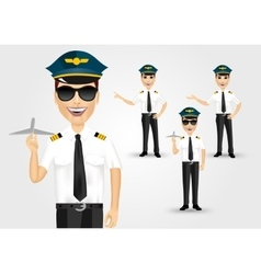Young friendly pilot with sunglasses vector