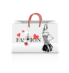 Shopping bag with a print - ink sketch vector