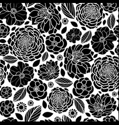 Black and white mosaic flowers seamless vector