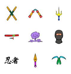 fast ninja icons set cartoon style vector image