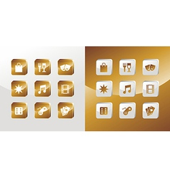 Entertainment gold icons set vector