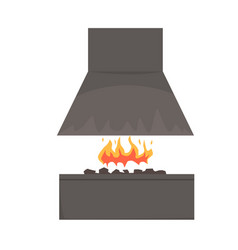 Barbecue smoker with fire barbecue grill bbq vector