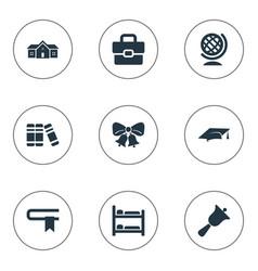 Set of simple school icons elements handbag  break vector
