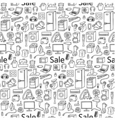 Sale household appliances seamless pattern vector