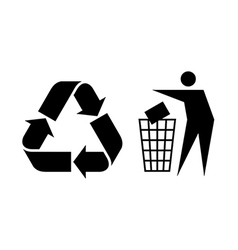 Litter and recycle sign vector