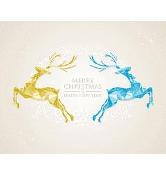 Christmas vintage deer greeting card vector image