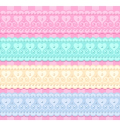 Wedding set of lacy ribbons vector