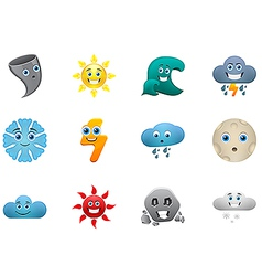 Weather smiles icons set vector