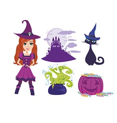 Set of accessories for the little witch vector