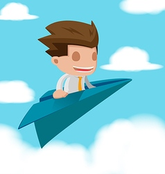 Man business fly paper plane vector
