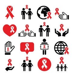 World AIDS Day icons set - red ribbon symbol vector image