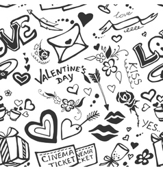 Valentines day doodle pattern vector