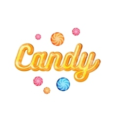Yellow candy font heading for posters vector