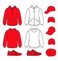 Unisex hoodie cap sneakers set vector image