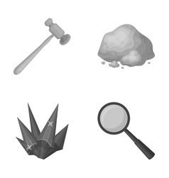 A jeweler s hammer a magnifier a copper ore a vector