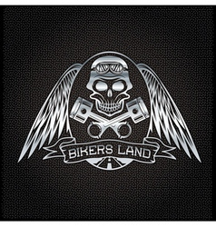 bikers land silver crest with skullwings and vector image