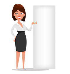 Businesswoman cartoon character standing near vector