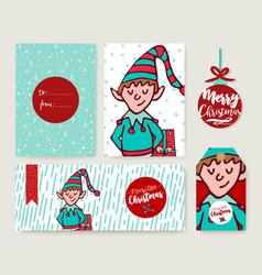 Christmas holiday card template cartoon elf set vector