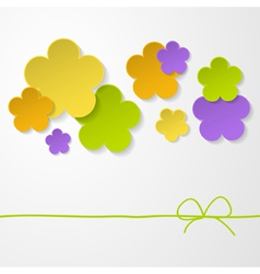 Color paper flowers on the white background vector