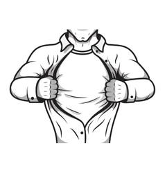 Comic hero opening shirt vector