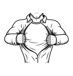 Comic hero opening shirt vector image vector image