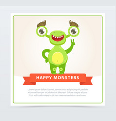 cute funny green monster showing victory sign vector image