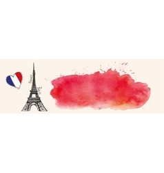 Eiffel towerWatercolor red splashflagParis vector image