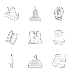 exequies icons set outline style vector image vector image