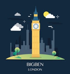 Famous london landmark bigben vector