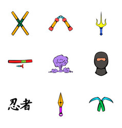 Fast ninja icons set cartoon style vector