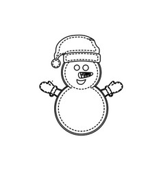 figure snowman with hat and gloves vector image