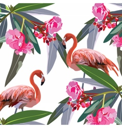 Flamingo birds and tropic flowers vector
