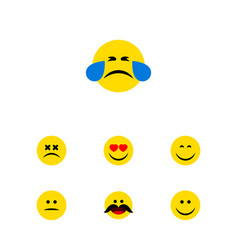 Flat icon expression set of cheerful displeased vector