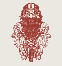 funny biker caricature racer on little motorcycle vector image