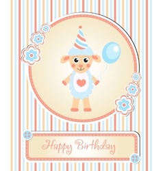 Greeting template cute children s birthday party vector