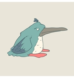hand drawn funny penguin on plain vector image
