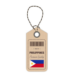 Hang tag made in philippines with flag icon vector