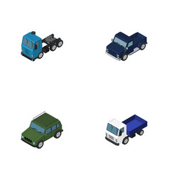 Isometric transport set of lorry suv armored and vector