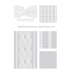 knitted patterns and brush vector image vector image