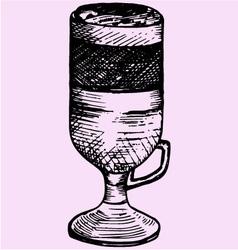 Latte macchiato glass cup vector