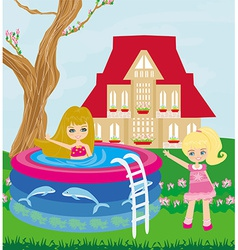 little girl in outdoor pool vector image