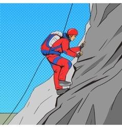 Man climber pop art style vector image