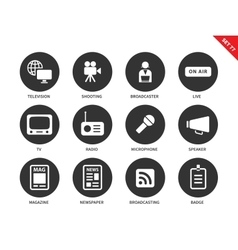 Media icons on white background vector image