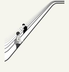People move on escalator vector