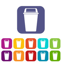Plastic flip lid bin icons set flat vector